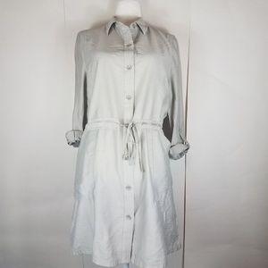 chicos silver gray button down dress size medium